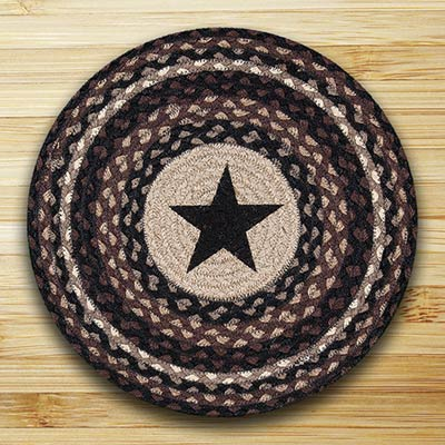 Black Star Round Braided Placemat