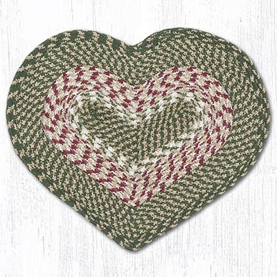 Green & Burgundy Cotton Heart Placemat