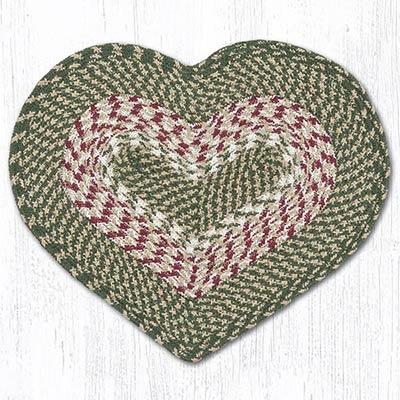 Green & Burgundy Cotton Heart Placemat