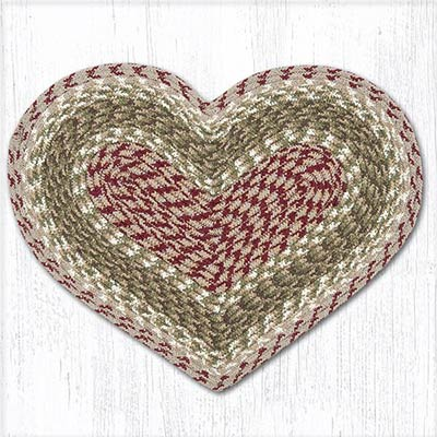 Olive, Burgundy, & Grey Cotton Heart Placemat