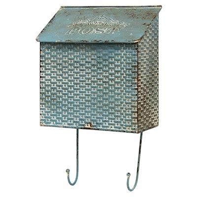 Distressed Blue Postal Wall Box with Hooks