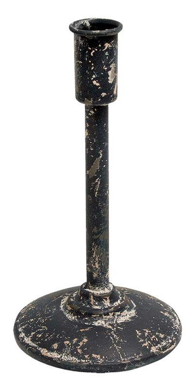 Distressed Black Taper Candle Holder - 9 inch