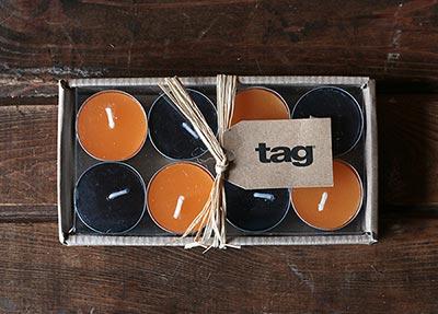 Black and Orange Tealights (Set of 6)