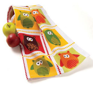 Owl Grid Dishtowel