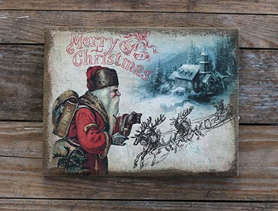 Merry Christmas Santa Burlap Art