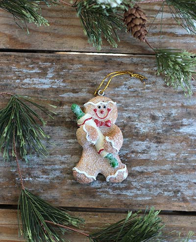 Glittered Gingerbread Ornament with Rolling Pin