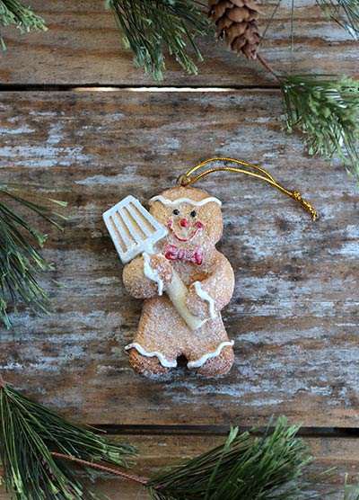 Glittered Gingerbread Ornament with Spatula
