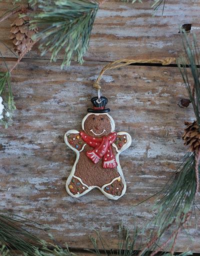 Gingerbread Boy Ornament with Polka Dot Scarf