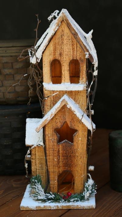 Holly Lighted Bird House