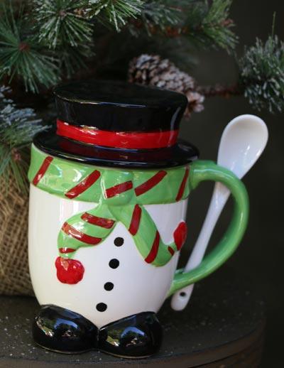 Holiday Lidded Mug with Spoon - Snowman