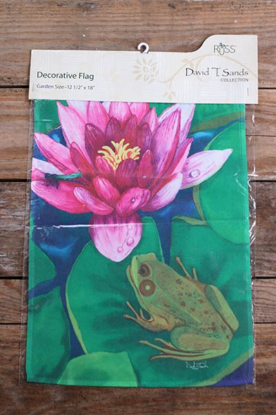 Frog on Lily Pad Garden Flag