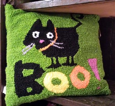 Boo Halloween Pillow - Cat