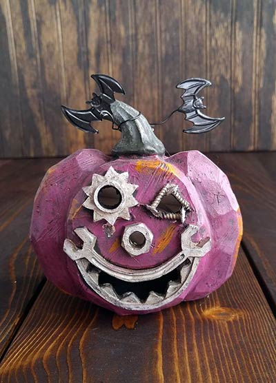 Gears Light Up Mini Pumpkin - Purple