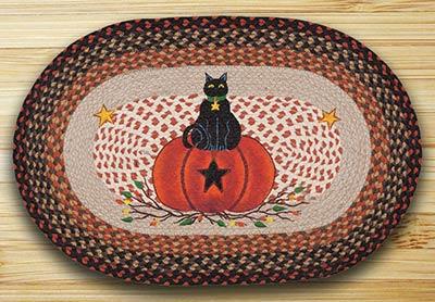Black Cat Pumpkin Braided Rug