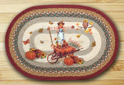 Pumpkin Celebration Oval Patch Braided Rug