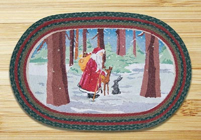 Father Christmas Oval Patch Braided Rug