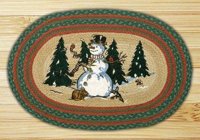 Winter Wonderland Oval Patch Braided Rug