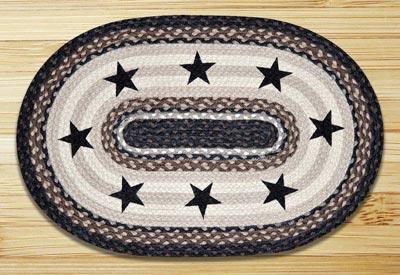 Black Stars Braided Jute Rug