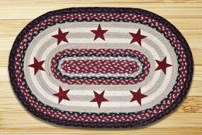 Burgundy Stars Braided Jute Rug