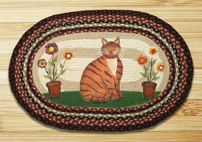 Folk Art Cat Braided Jute Rug