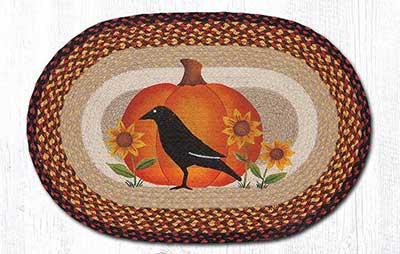 Crow Pumpkin & Sunflower Braided Rug