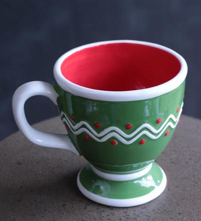 Green Whimsical Footed Mug
