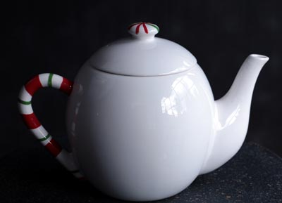 Candy Cane Christmas Teapot