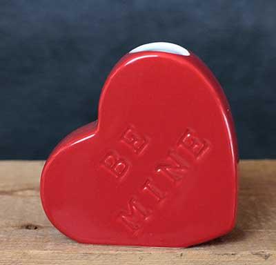 Red Heart Bud Vase