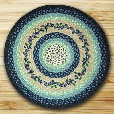 Blueberry Vine Braided Jute Rug - Round