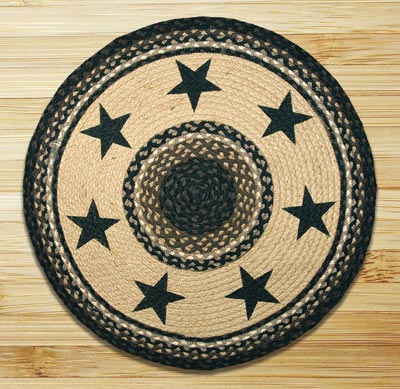 Black Star Braided Jute Rug - Round
