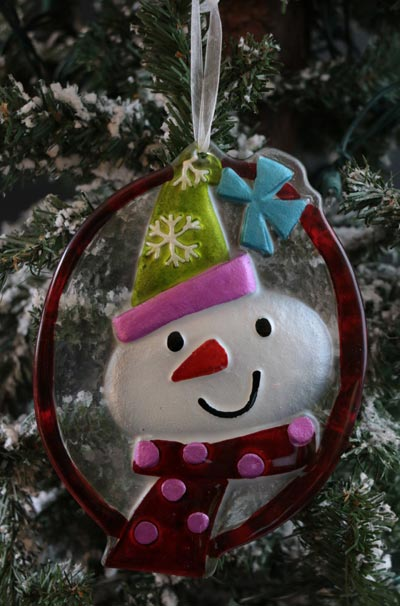 Festive Holiday Glass Ornament - Red Snowman