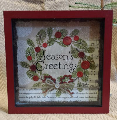 Glad Tidings Shadow Box Artwork with Wreath