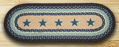 Blue Stars Braided Jute Table Runner