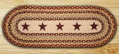 Burgundy Star Braided Jute Table Runner - 48 inch
