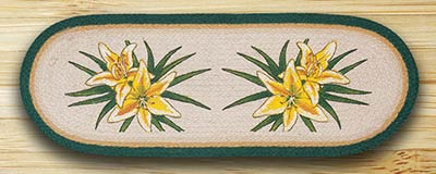 Yellow Lilies Oval Patch Runner - 36 inch