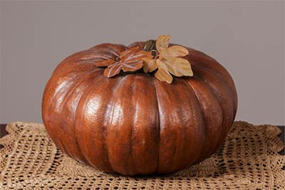 Large Pumpkin with Tin Leaves