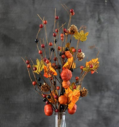 Pumpkin & Autumn Berry Floral Pick