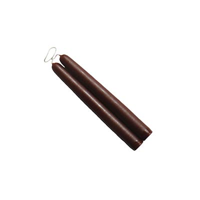 6 inch Chestnut Brown Mole Hollow Taper Candles (Set of 2)