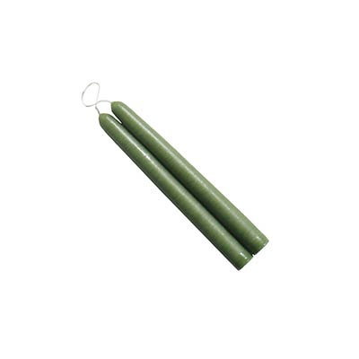 6 inch Colonial Green Mole Hollow Taper Candles (Set of 2)