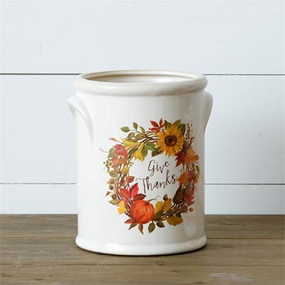 Give Thanks Pottery Crock