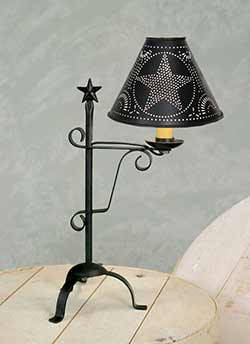 Black Star Lamp with Punched Tin Shade