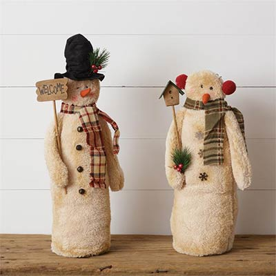 Snowman Couple with Birdhouse & Welcome
