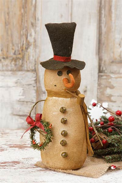 Primitive Snowman with Wreath and Pipe