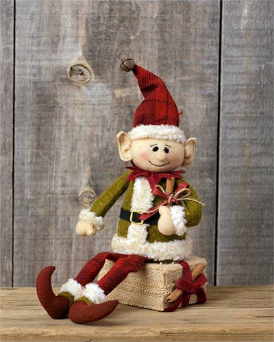 Elf Sitting on Gift Doll