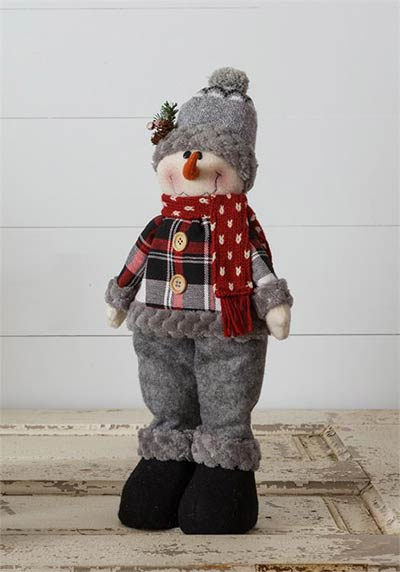 Cozy Plaid Snowman Doll