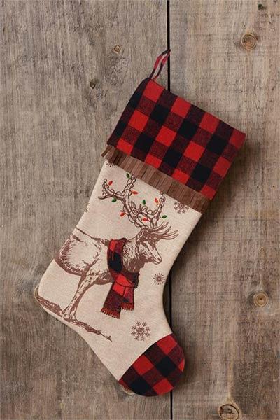 Buffalo Check Reindeer Stocking