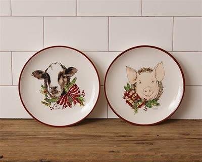 Farmhouse Christmas Dinner Plates (Set of 2)