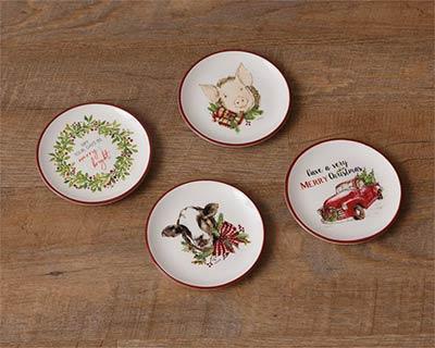 Farmhouse Christmas Mini Plates (Set of 4)