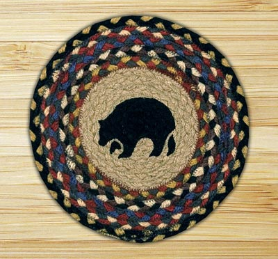 Black Bear Braided Tablemat - Round (10 inch)