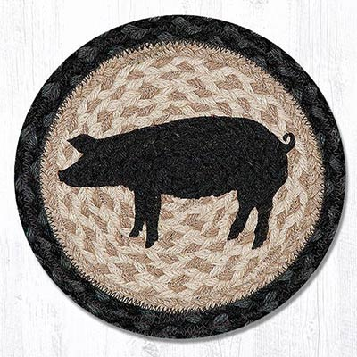 Pig Silhouette Braided Tablemat - Round (10 inch)